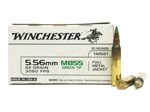 5.56 M855 62 Grain Green Tip Penetrator FMJ Winchester USA855K/WM855 WNUSA855K-WM855