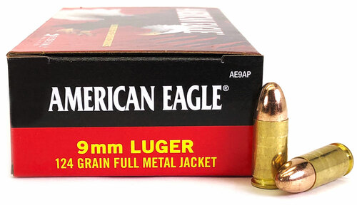 9mm 124 Grain FMJ Federal American Eagle AE9AP - 100 Rounds FDAE9AP