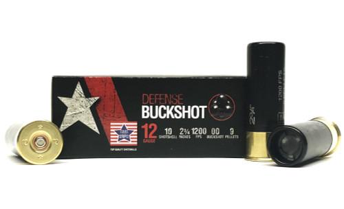 "12 Gauge Stars and Stripes Defense 00 Buckshot 10rd 2-3/4"" CBUCK9 - 250 Round Case CBUCK9"
