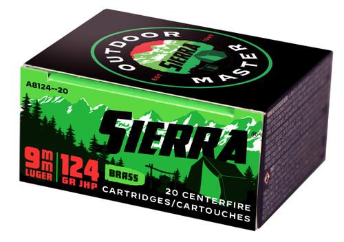 9mm 124 Grain JHP Sierra Outdoor Master A812420 - 20 Rounds SIERA812420