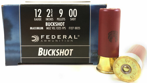 "12 Gauge Federal Power Shok 2 3/4"" 00 Buckshot 9 Pellet  F127 0025"