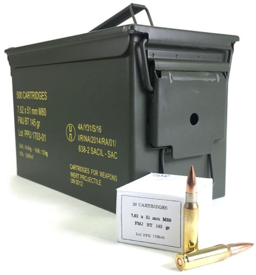 PRVI Partizan (PPU) Ammunition 7.62x51 NATO M80 Ball 145