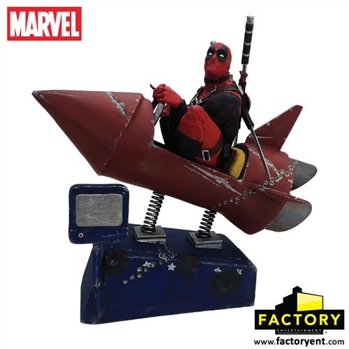deadpool rocket ride statue