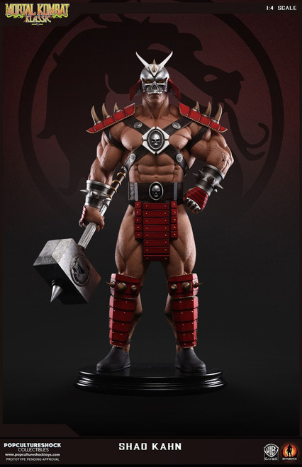 pop culture shock collectibles mortal kombat shao kahn statue