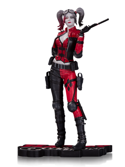 harley quinn red white and black statue injustice 2
