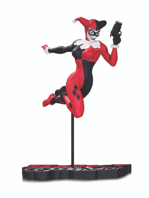 dc collectibles harley quinn red white black statue terry dodson