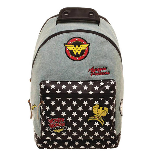 Bioworld Merchandising DC Comics Wonder Woman Denim Backpack with Patches