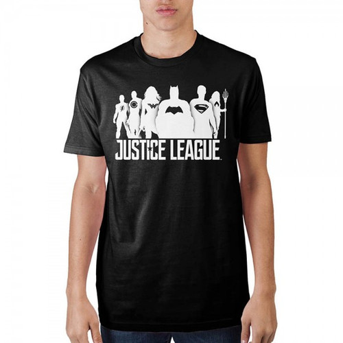 ustice League Mens Black Soft Hand Tee
