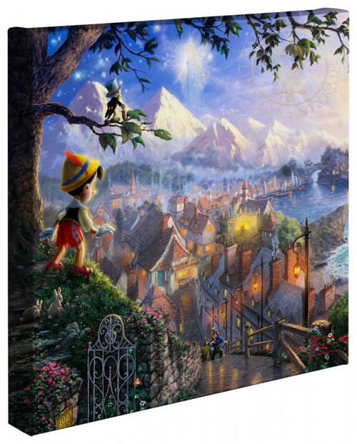 "Pinocchio Wishes Upon A Star 14"" x 14"" Gallery Wrapped Canvas"
