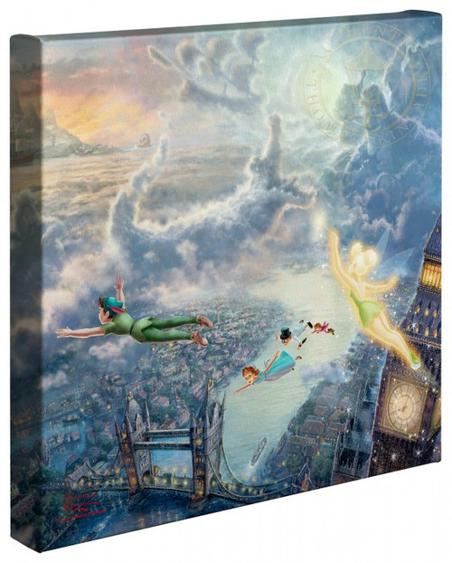 "Tinker Bell and Peter Pan Fly to Neverland 14"" x 14"" Gallery Wrapped Canvas"