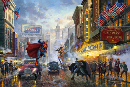 "Batman, Superman and Wonder Woman 11"" x 14"" Floating Metal Print"