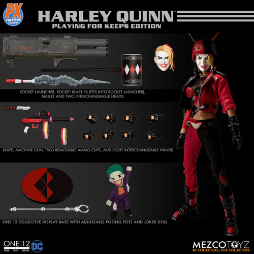 mezco one 12 previews exclusive harley quinn playing for keeps