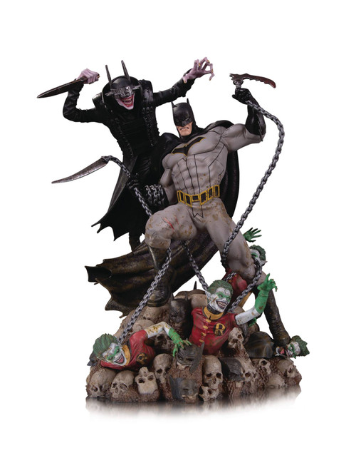 dc comics batman who laughs vs batman battle statue