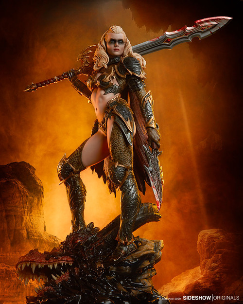 dragon slayer warrior forged in flame statue