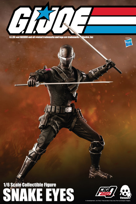 threezero gi joe snake eyes one sixth scale action figure