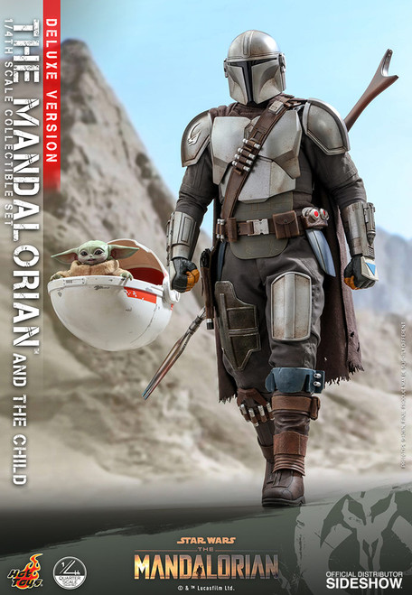 hot toys mandalorian child deluxe quarter scale figure set