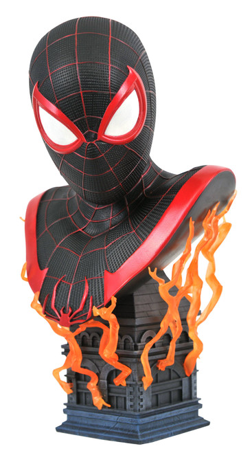 diamond select toys marvel legends in 3d ps5 miles morales 1/2 scale bust