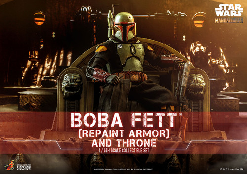 hot toys boba fett repaint armor and throne one sixth scale figure set