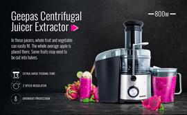 Geepas 800W Juice Extractor - Black & Silver
