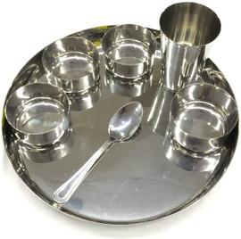 Stainless Steel 7pc Dinner Set Thali Set Plate Spoon Glass Bowl Spoon - Heavy Gauge