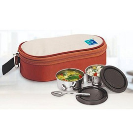 Stenso Stainless Steel Daizy Lunch Box With Pouch, Capacity: 300 Ml