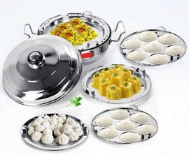 Stainless Steel Induction Gas Top Idli Maker Cooker Dhokla Pot Steamer