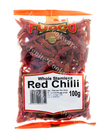 100g Whole Stemless Red Chilli - Fudco