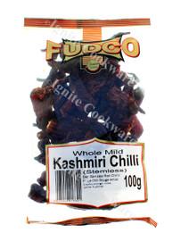 Whole Mild Kashmiri Chilli (Stemless) - Fudco