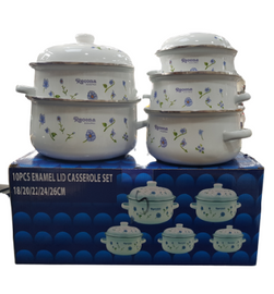 5 pcs enamel casserole serving set