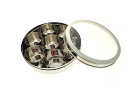 Stainless Steel masala Dabba with Clear lid open