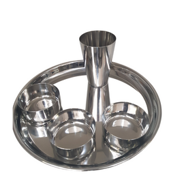 stainless steel thali with 3 bowls and one tumbler