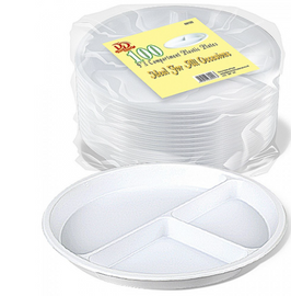 3 division disposable part plates pack of 100