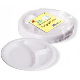 3 division 25cm disposable part plates pack of 50
