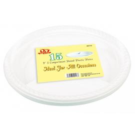 3 division 21cm disposable part plates pack of 15