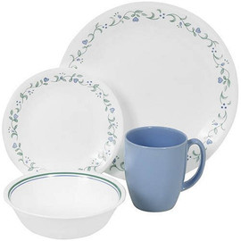 Corelle 16pc Set Country Cottage - 4 dinner plates, 4 side plates, 4 cereal bowls & 4 mugs