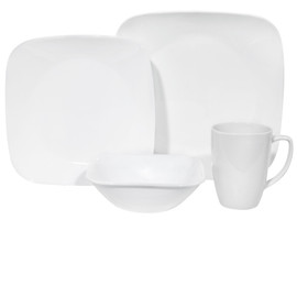 Corelle Pure White 16pc Square Dinner Set
