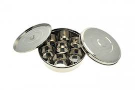 Stainless Steel Masala Dabba with inner and outer lid