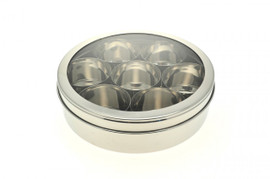 Stainless Steel Masala Dabba ( Spice Tin ) with Clear Lid