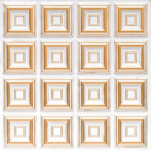 Casablanca Faux Tin Ceiling Tile Glue Up 24 In X 24 In 142