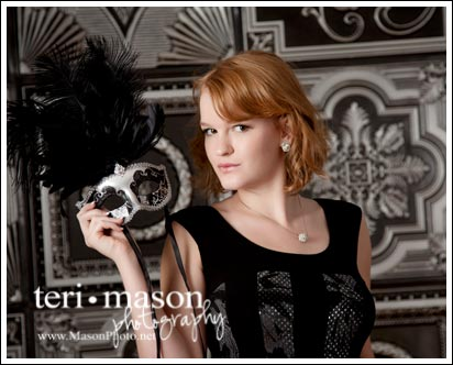Portrait of a Senior by Teri Mason Photography with decorative ceiling tiles as a background.