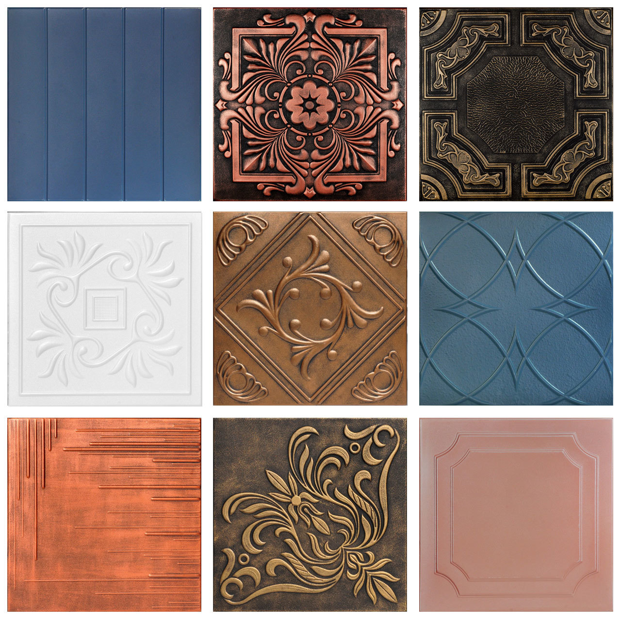 3 Full Hand-Painted Styrofoam Tiles Sample Pack