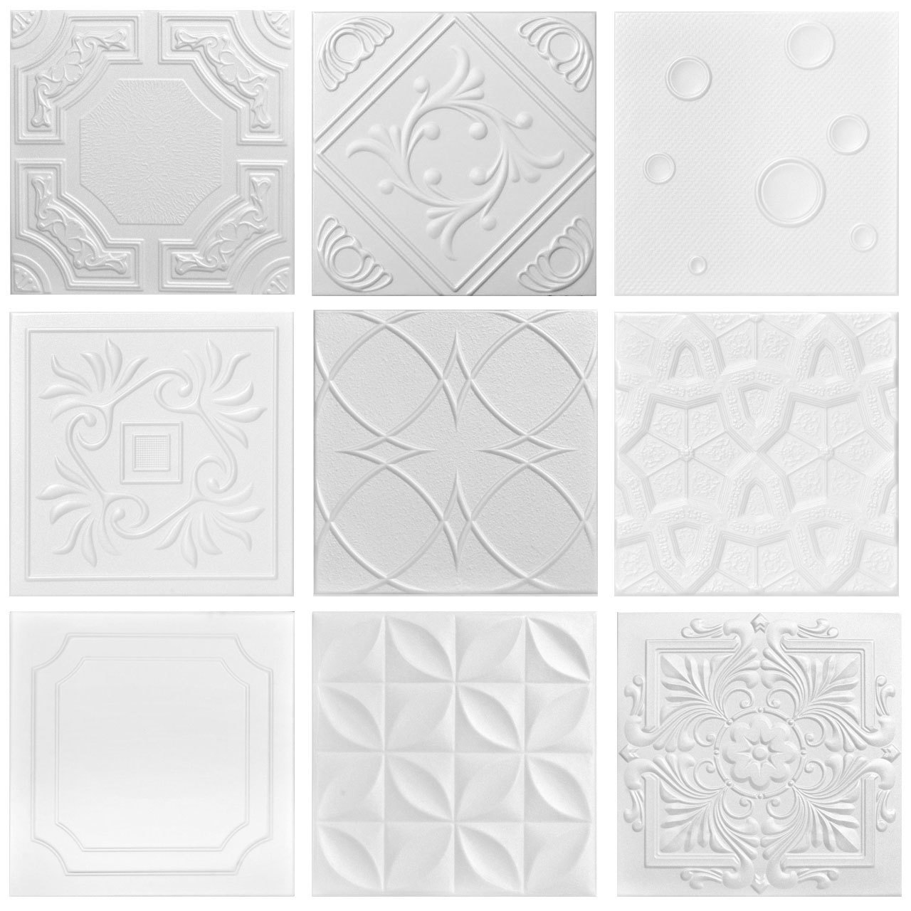 3 Full Styrofoam Tiles Sample Pack