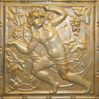 2484 Aluminum Ceiling Tile with a design with a Cherub and Wine Grapes in Athenian Bronze and many other finishes is available at www.decorativeceilingtiles.net