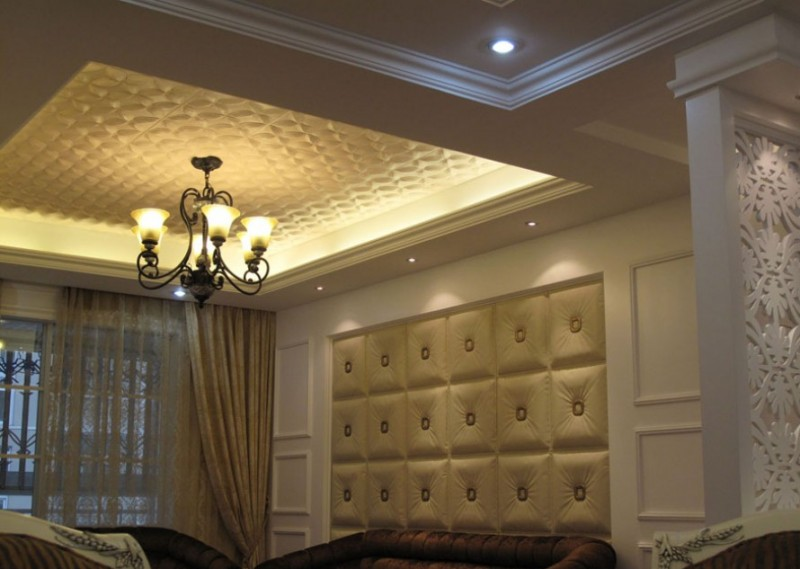 Beautiful living room with faux leather - Ivory - wall and ceiling