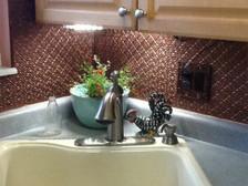 WC 20 Antique Copper Faux Tin Backsplash Roll Installed Kitchen