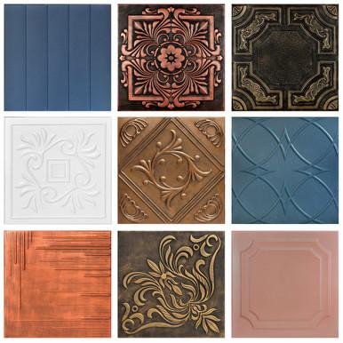 3 Full Hand-Painted Styrofoam Random Pattern Tiles Sample Pack