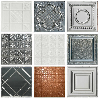 Shanko Tin Wall and Ceiling Samples - 5 Finishes