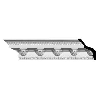 Attica Acanthus Leaf - Urethane Crown Moulding - 94-1/2 in x 5-3/8 in x 5-3/8 in