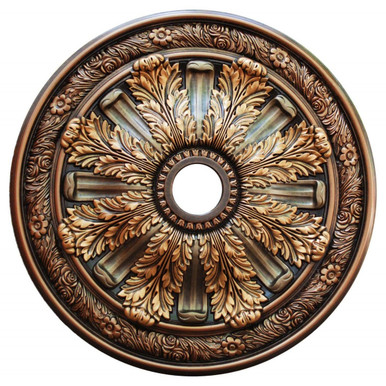 Burnish Leaves - FAD Hand Painted Ceiling Medallion 30 in - #CCMF-036-6