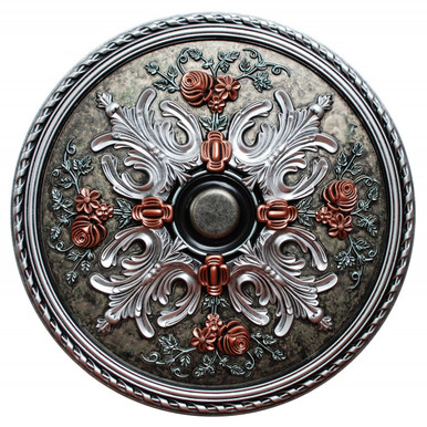 Winter Blossom - FAD Hand Painted Ceiling Medallion 32 in - #CCMF-106-2